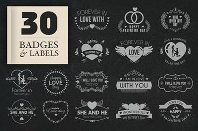 CreativeMarket - JI-Valentine Badges