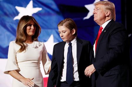 Мелания, Бэррон и Дональд Трамп