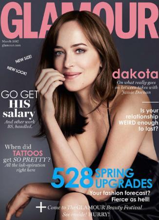 Дакота Джонсон на обложке журнала Glamour