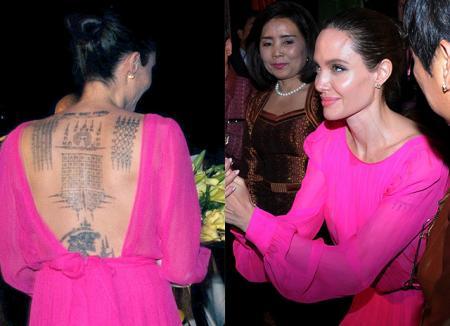 Анджелина Джоли в платье цвета лотоса и ее дети на премьере фильма в Камбодже