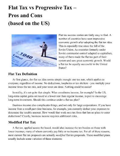 Flat Tax vs Progressive Tax