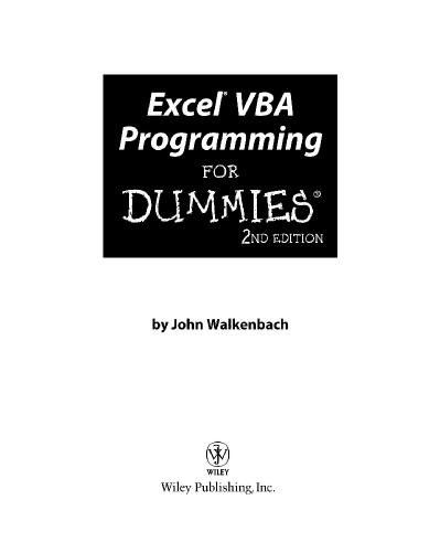 Excel® VBA Programming For Dummies®, Second Edition